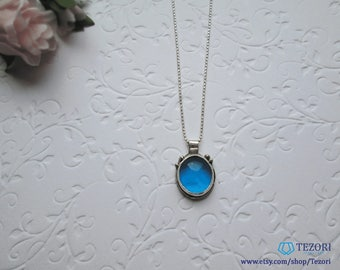 Blue sea glass pendant necklace Metalwork jewelry Fine silver Gift for girlfriend