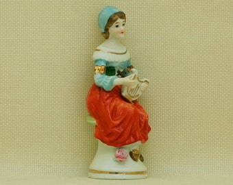 Vintage Porcelain Girl with Harp.