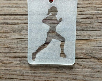 Female Runner Fused Glass Christmas Ornament/Sun Catcher; Running, Track & Field, Cross Country; Personalized; Custom