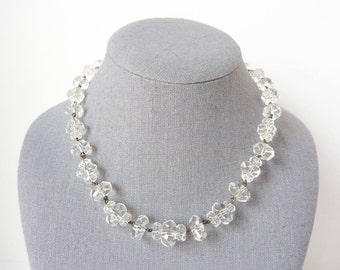 Vintage Deco Crystal Necklace from the 1920s in Clear Rock Candy Quartz