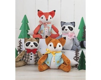 Sewing Pattern for Stuffed Fox and Raccoon, Simplicity 8313, New 2017 Pattern, Stuffed Animals, Woodland Critters, Plushies