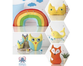 Sewing Pattern for Stuffed Animals, Simplicity 8358, Rainbow, Stuffed Rainbow, Stuffed Fox,Stuffed Owl Family, Stuffed Cat, Stuffed narwhal