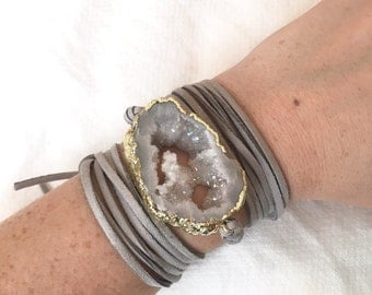 Druzy Leather Wrap Bracelet