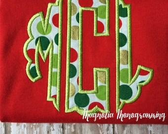 Monogrammed Christmas Applique Shirt