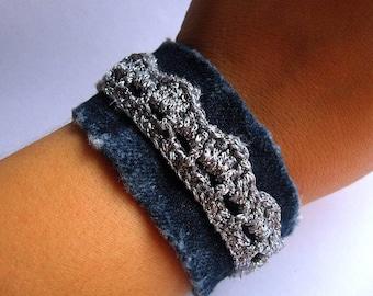 Crochet bracelet crochet yewelry lace bracelet denim bracelet jeans bracelet jeans jewelry