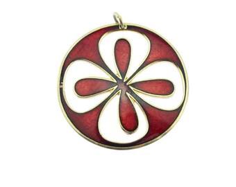 De Passille Sylvestre Enamel Flower Pendant, Red Enamel Flower Pendant, Quebec Enamel Pendant, Modernist Enamel Pendant