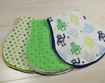 Robot Baby Boy Burp Cloth Set of 3
