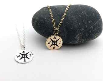 Compass Necklace in Gold or Silver, Enjoy the Journey, World Traveler Gift, Nautical Jewelry, Graduation Gift, Best Friends and Strength
