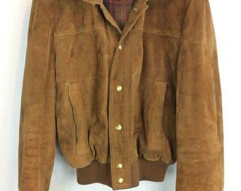 Vintage suede short waist wool lined carmel colored snap front jacket with detachable hood men's size large, vintage clothing men's