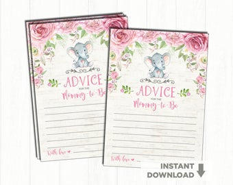 Elephant Baby Shower Advice Card. Pink Floral Baby Shower Game. Advice for Mommy To Be. Watercolor Flowers. Pink Roses Little Peanut. RO1