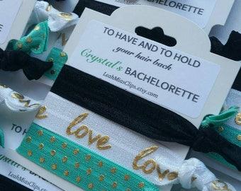 Teal & Black 'Love' Wedding Hair Tie Set, Bachelorette Hair Tie Favours, Bachelorette Favors, Bridesmaid Gifts, Polka dot hair ties
