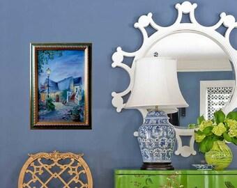 Oil painting, Landscape, Evening, Lantern, House