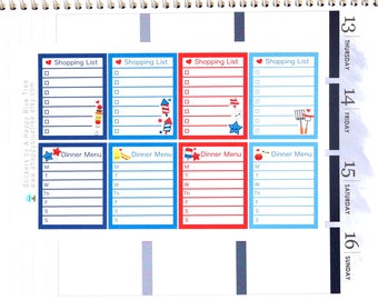 Happy Patriotic Dinner Menu and Shopping List Full Box Stickers Erin Condren Life Planner ECLP Mambi Personal Kawaii Cute July Fireworks
