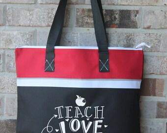 Teacher Gift - Large Tote Bag - Teacher Gifts - Teacher Appreciation - Zip Top Bag - Bag with Zipper Closure - New Teacher Graduation Gift