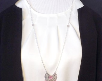 Necklace pendant filigree silver and pink, pink PomPoms and bordeau, pearls faceted Crystal Pink salmon