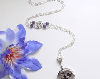 Perfume Locket necklace Silver butterflies and natural Amethyst beads