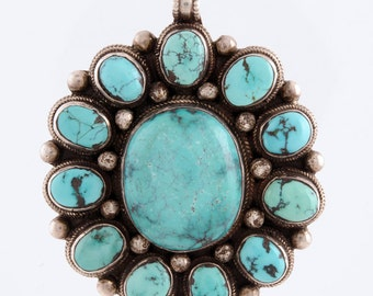Vintage Old Pawn Navajo Sterling & Turquoise Needlepoint Cluster Pendant Necklace