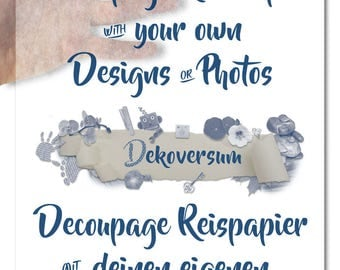 Thin custom Decoupage Rice Paper with your design motive or photo | Decoupage or napkin technique with your own designs or photos