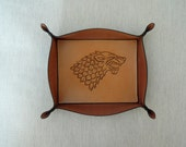 Handmade Leather Tray with  Drawing of the House Stark emblem - Game of Thrones // Game of Thrones Fans Gift