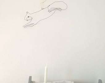 Squirrel- wire wall art- hygge decor- scandinavian modern- squirrel gifts- wire sculpture- animal sculpture