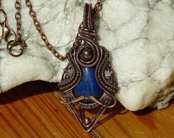 LAPIS LAZULI Healing Pendant / Wire Wrapped pendant / wire wrapped jewelry / Healing Pendant / Bohemian jewelry / Steampunk