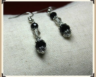 Silver and Black Crystal Dangle Earrings