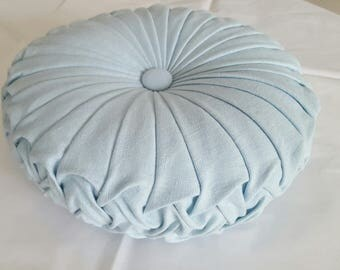 ONE ONLY Light Blue Linen Vintage Style Cushion