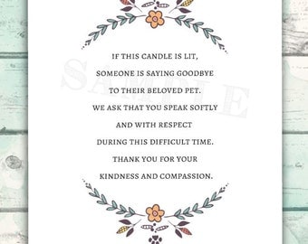 Compassion Candle Sign for Vet Office, Saying Goodbye to a Pet, If this candle is lit, someone is saying goodbye to a beloved pet, Veterinar