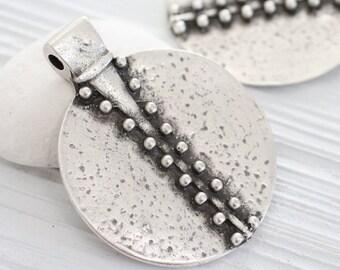 Large medallion pendant, silver pendant, large tribal pendant, silver medallion, large round pendant, rustic pendant, unique pendant, boho