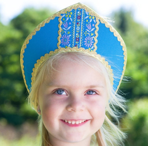 Russian traditional hat cotton Kokoshnik Dunyasha on elastic band, Russian crown, Girl head-dress