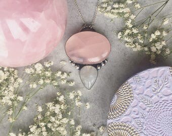 Rose Quartz & Moonstone Necklace