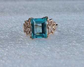Gold and Blue Topaz ring.  Genuine baguette-shaped blue Topaz set in 9 carat yellow gold.