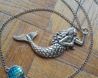 Blue mermaid long necklace