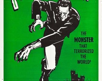 Frankenstein - retro horror movie poster print 11x17