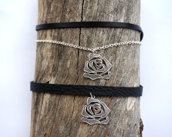 Black Leather Silver Rose Choker - Silver Rose Charm Choker Necklace - Gothic Rose Choker - Vintage Rose Choker - Girlfriend Gifts