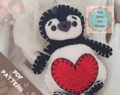 Felt Pattern Penguin-felt pattern- PDF Felt pattern - felt penguin decoration-Felt penguin pattern
