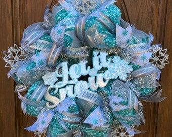 Deco Mesh Holiday Wreath - Winter Snowflake Wreath - Winter Deco Mesh Wreath - White Christmas Wreath - Front Door Christmas Wreath