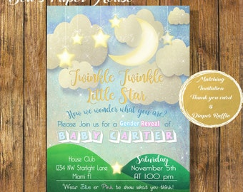 Digital file or Printed-Twinkle Twinkle Little Star Baby Shower Invitation-Gender Reveal Invitation-How We Wonder What You Are-Free Shipping