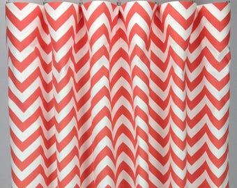 Coral Chevron Curtains  - FREE SHIPPING - Salmon Drapes - Rod Pocket - Grommets - Lined/Unlined - Valance- 24 50 x 84 96 108 120 Panels