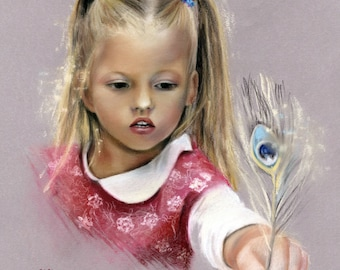Commission portait painting. Best gift for girl child. Commissioned art drawing gifts for birthday, Christmas. MUSEUM QUALITY!