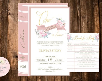 One Upon a Time Invitation, Library Book Invitation Kit, Books for Baby, First Birthday Invitation, Once Upon a Time, Floral Birthday Invite