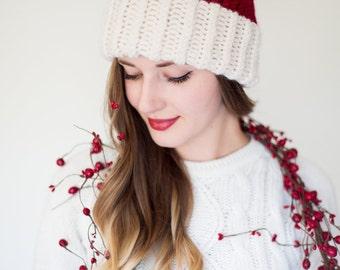 Santa Hat - Loom Knit/Double knit brim