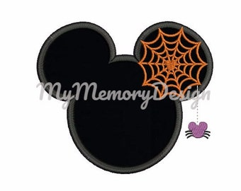 Halloween mouse head with spider web embroidery design - Mouse head applique design - Halloween embroidery - INSTANT DOWNLOAD -4X4 5X7 6X10