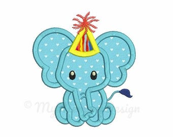 Elephant embroidery - Elephant Applique Birthday Embroidery Design Machine embroidery file  pes hus jef vip vp3 xxx dst exp INSTANT DOWNLOAD