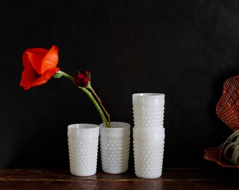 White Hobnail Milkglass Cups - set of 4