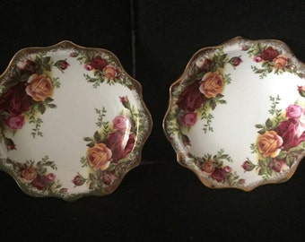 A pair of Vintage Pin dishes made by Royal Albert / Old Country Roses pattern / Flute C1962-1972 / Butter dish / Dressing Table