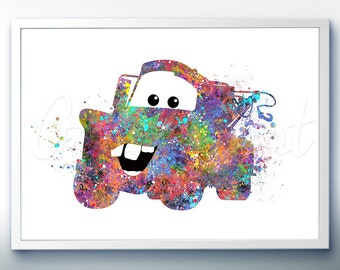Disney Pixar Cars Tow Mater Watercolor Poster Print - Wall Decor - Watercolor Painting - Watercolor Art - Kids Decor- Nursery Decor