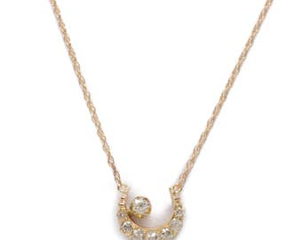 Diamond and 14KT. Gold Crescent Necklace
