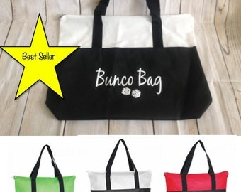 "Bunco Bag!  Custom Printed Non-Woven Zippered Tote Bag   18"" W x 15"" H  #1 BEST SELLER!"