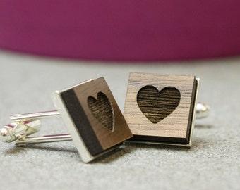 Secret Heart  Rhodium plated cufflinks | 5mm engraved walnut | in a high quality presentation box | ideal christmas gift for a man